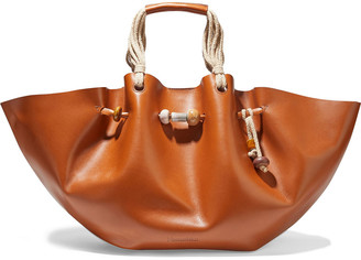 Nanushka Lynne Bead-embellished Gathered Leather Tote