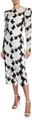 Monique Lhuillier Butterfly Lace Guipure Cap-Sleeve A-Line Cocktail Dress