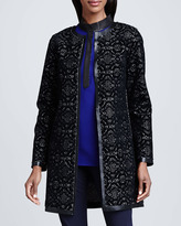 Elie Tahari Melody Lace & Leather-Trim Coat