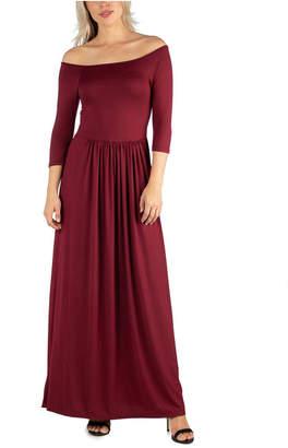 24seven Comfort Apparel Women Off Shoulder Pleated Waist Maxi Dress