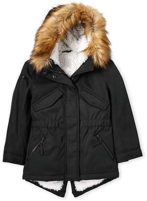 S13 Toddler Girls) Faux Fur Trim Sherpa-Lined Parka