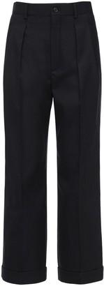 Saint Laurent High Waist Wool Gabardine Pants