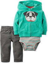 Carter's Baby Microfleece Boys' 3-Pc. Dog Hoodie, Bodysuit & Pants Set