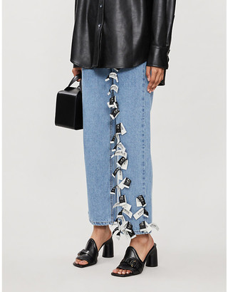 Kimhekim Sarah logo-applique wide-leg high-rise jeans
