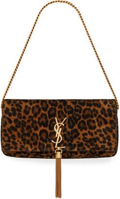 Saint Laurent Kate Monogram Leopard Shoulder Bag w/ Tassel