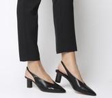 Office Mischief Pointed Heels Black Leather Tortoise Heel
