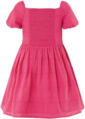Monsoon Girls Check Puff Sleeve Dress - Bright Pink