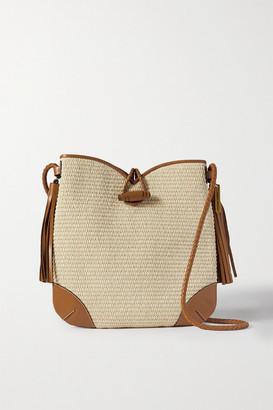 Isabel Marant Tyag Leather-trimmed Raffia Shoulder Bag
