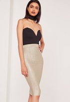 Missguided Crinkle Midi Skirt Nude