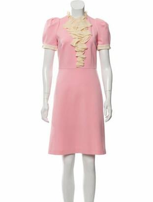 Gucci Ruffle-Trimmed Knee-Length Dress Pink