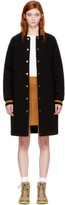 See by Chloe Black Long Striped Collar Bomber Jacket