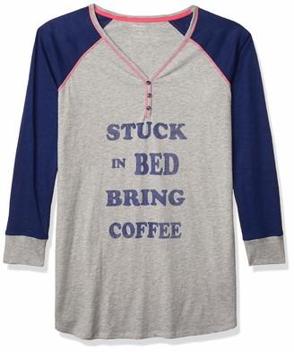 Mae Amazon Brand Women's Sleepwear Henley Sleep Shirt