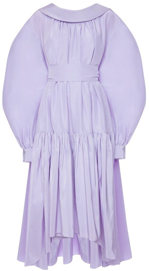 Alexander McQueen Puff-Sleeve Cotton & Silk High-Low Midi Dress