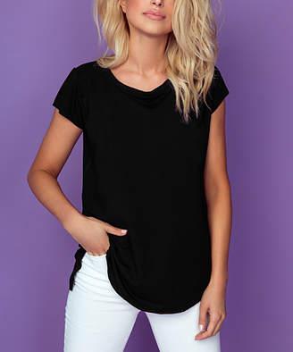 Knitis knitis Women's Tee Shirts Black - Black Scoop Neck Hi-Low Tee - Women