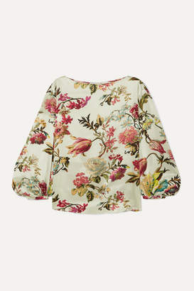 Etro Floral-print Washed-satin Top - White