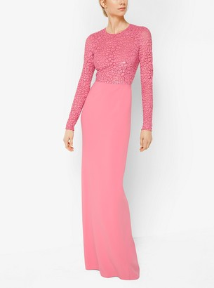 Michael Kors Collection Embroidered Stretch Wool-Crepe Gown