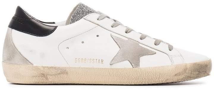 Golden Goose white grey glitter Superstar sneakers
