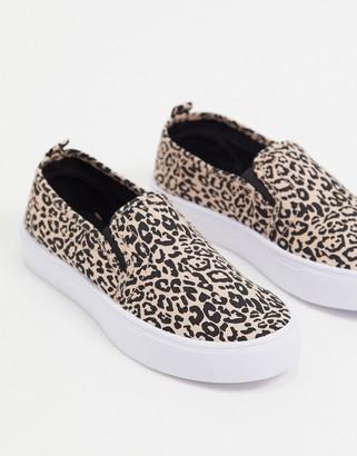 ASOS DESIGN Dotty slip on sneakers in leopard