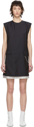 Acne Studios Navy Wool Pinstripe Dress