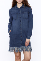 Sneak Peek Denim Fringe Shirt-Dress