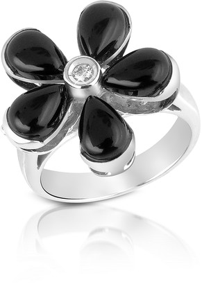 Del Gatto Diamond and Onyx Flower 18K Gold Ring