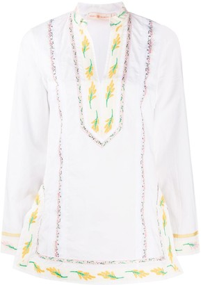 Tory Burch Floral-Embroidered Tunic
