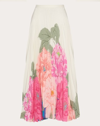 Valentino Printed Crepe De Chine Skirt Women Ivory Silk 100% 36