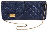 Chanel Vintage Blue Metallic Leather Reversible Reissue East West Flap