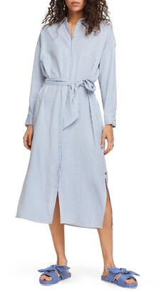 Scotch & Soda Stripe Belted Long Sleeve Midi Shirtdress