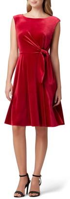 Tahari Stretch Velvet Fit & Flare Dress