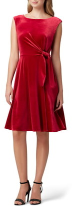 Tahari Stretch Velvet Fit & Flare Dress