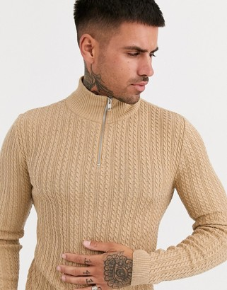 ASOS DESIGN muscle fit lightweight cable half zip sweater in camel