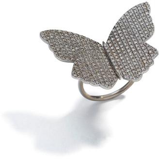 Sheryl Lowe Pave Diamond Butterfly Bead Ring