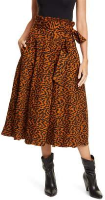 Ulla Johnson Esther Paperbag Waist Denim Midi Skirt