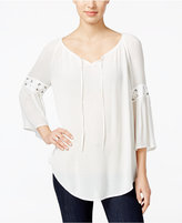 Style&Co. Style & Co. Lace-Up-Trim Peasant Top, Only at Macy's