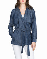 Neiman Marcus Chambray Trench Jacket, Dungaree