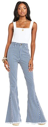 Show Me Your Mumu Berkeley Zip-Up Bells in Sand Sea Stripe (Sand & Sea Stripe) Women's Jeans