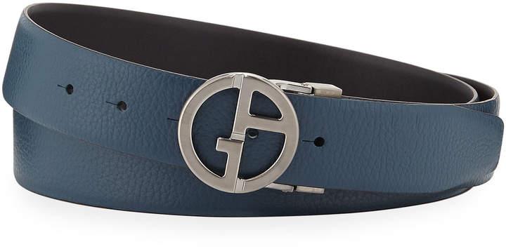 01e6397c46 Men's Reversible Logo-Buckle Vitello Belt, Steel Blue