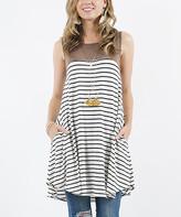 Lydiane Women's Blouses MOCHA - Mocha Color Block Stripe Sleeveless Pocket Tunic - Women
