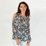 Lauren Conrad Women's Pleated Cold-Shoulder Top