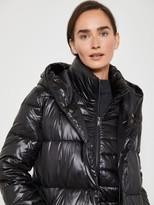 Mint Velvet Wet Look Double Breasted Padded Coat - Black
