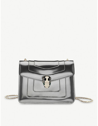 Bvlgari Silver Serpenti Forever Patent-Leather Shoulder Bag
