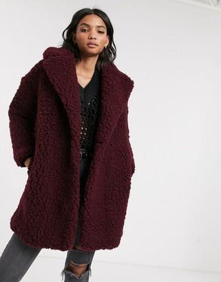 Topshop borg coat in burgundy