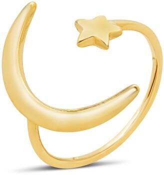 Sterling Forever 14K Gold Vermeil Crescent Moon Open Ring