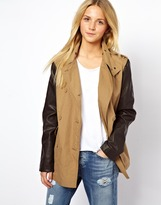 Asos Casual Leather Look Sleeve Trench