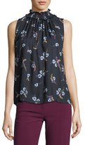 Rebecca Taylor Natalie Sleeveless Floral-Print Silk Top