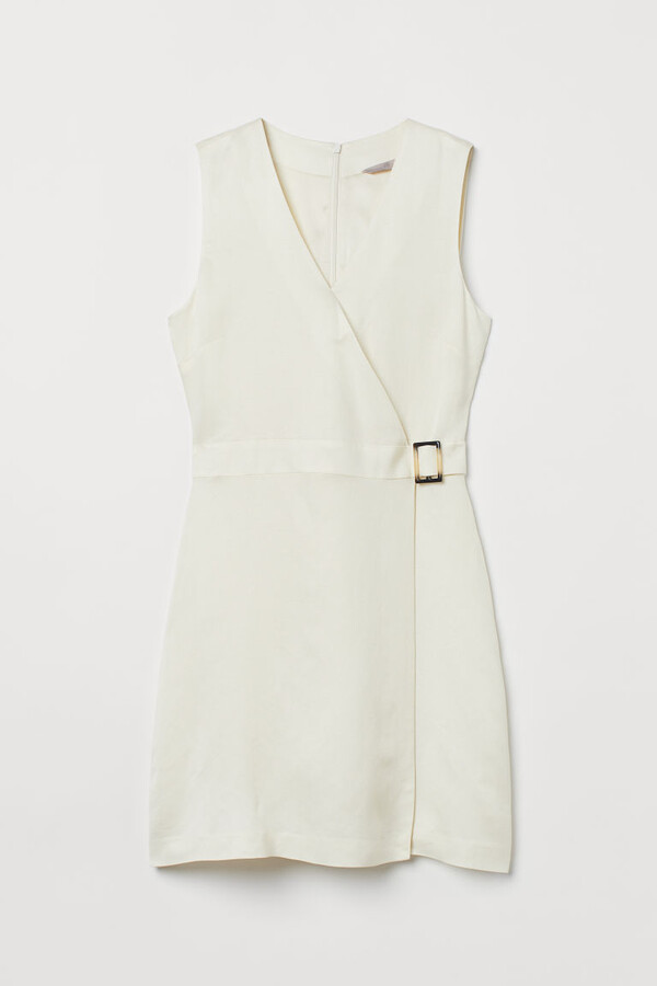 H&M - Linen-blend Wrapover Dress - White