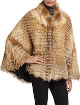 Gorski Layered Fox Fur Poncho, Tan