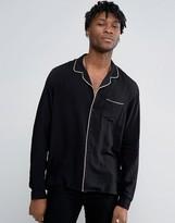 Asos Regular Fit Viscose Pajama Shirt With Revere Collar
