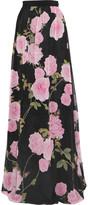 Giambattista Valli Floral-print Silk Crepe De Chine Maxi Skirt - Black